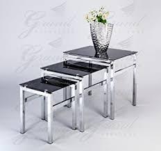buy nest of tables elsa modern glass nest of tables black 3 l side coffee table set