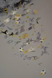 Yellow Baby Room by Whimsical Bird Nursery Mobile Yellow Gray Black White Nursery