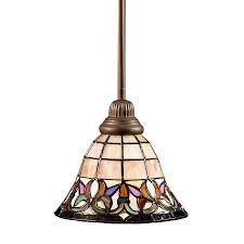 Stained Glass Pendant Light Shop Portfolio Flora 8 5 In Mission Bronze Style Mini