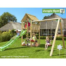 jungle gym cabin and swing with installation