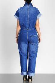 sleeve denim jumpsuit fashion simple plain lapel buttons sleeve denim