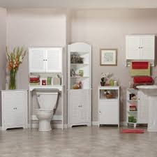 bathroom ideas white stained wooden storage cabinet for bathroom