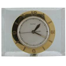 cartier lucite and yellow gold desk clock with lecoultre movement