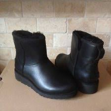 womens black ankle ugg boots ugg amal leather ankle booties black wedge size 8 us ebay