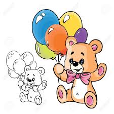 teddy balloons illustration of teddy with balloons in color isolated