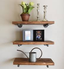 Barnwood Wall Shelves Set Of 3 8 Deep Floating Pipe Shelves Industrial Wood