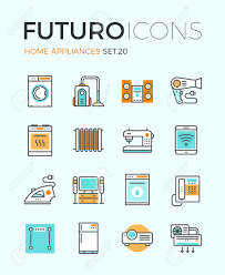 design elements in a home line icons with flat design elements of major home appliances