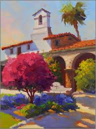 afternoon color mission capistrano 12x16 oil on panel mission