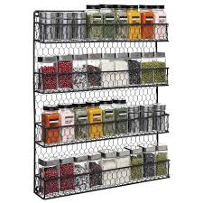 wall mounted spice rack cabinet 4 tier chicken wire pantry spice organizer storage rustic wall
