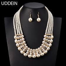pearl necklace bridal jewelry images Uddein multi layer pearl necklace women bridal wedding jewelry jpg