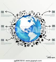 vector clipart modern world globe with application icon modern