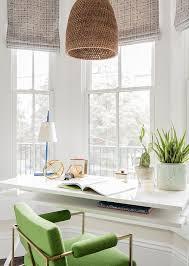 white lattice desk with turquoise velvet tufted chair