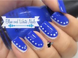 easy beginner blue u0026 white nail art by the crafty ninja youtube