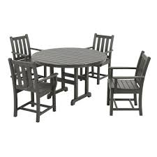 plastic round table and chairs polywood traditional garden slate grey 5 piece plastic outdoor patio