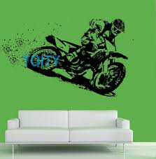 large sports wall murals promotion shop for promotional large motorbike dirt bike motocross sport wall art sticker motorcycle mural giant large decal vinyl room interior decor s m l