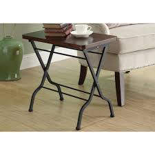 Folding Table Monarch Specialties Cherry And Charcoal Black Folding Table I 3309