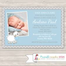 Example Of Baptismal Invitation Card Boy Baptism Invitation Lamb Christening Invitation Blue