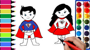 draw color paint baby superman supergirl coloring pages learn