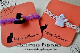 halloween gift tags free printables rubber band bracelet gift tags laura k bray
