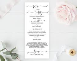 template for wedding program wedding program template etsy