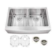 home depot double stainless steel sink schon all in one apron front stainless steel 33 in double bowl