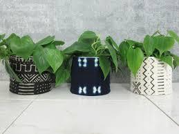 mudcloth planters african mud cloth plant pots unique