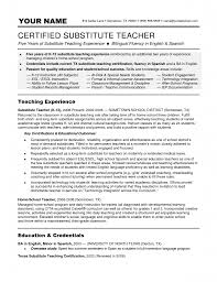 Teaching Resume Objective Objective Substitute Teacher Resume Objective