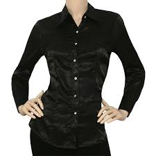 black button blouse iron puppy satin charmeuse l slv button solid collar
