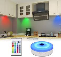 kitchen cabinet led lighting bason rechargeable puck lights with remote color changing lights cabinet led lighting rgb wireless light for kitchen closet display 1