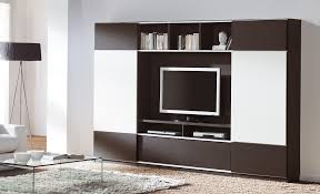 modern brown and white plywood tv cabinet with bookshelves of