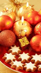 christmas decorations candles cookies red android wallpaper free