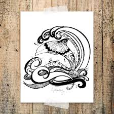 harmony dolphin coloring page peace words hand drawn zen