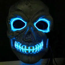 Halloween Neon Costume Novelties Led Mask Skull Skeleton Fancy Scary Halloween Costume