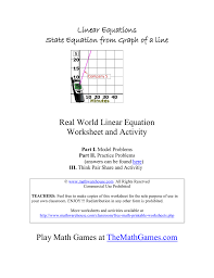 real world linear equation worksheet and activity linear equations