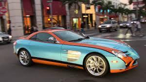 orange mercedes gulf blue orange mercedes benz mclaren slr getting parking ticket