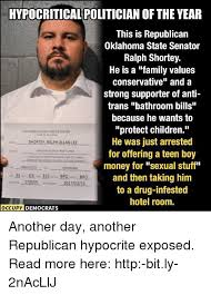Oklahoma State Memes - hypocritical politician of the year this is republican oklahoma