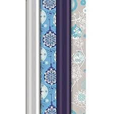 icy blue silver wrapping paper plain printed 20m 4