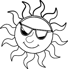 sun wearing sun glasses summer coloring page wecoloringpage