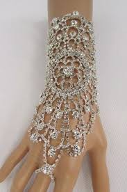 women hand bracelet images Women silver metal lace rhinestone slave ring fashion bracelet jpg