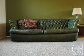 Tufted Vintage Sofa Found Vintage Tufted Green Leather Sofa The Gathered Home