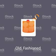 old fashioned cocktail illustration old fashioned cocktail icon on dark background in flat style stock