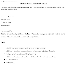 dental assistant resume sample sample templates