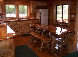 modern natural brown nuance of the kitchen bench wood that has