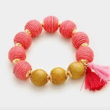 bracelet thread images Thread ball bracelet coral pearlsandrocks jpg