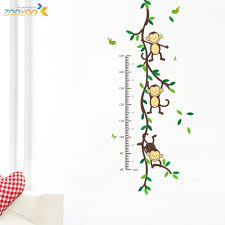stickers vinyl wall picture more detailed about measure measure height wall stickers for kids rooms growth chart monkey decals playing