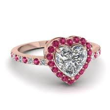 Pink Wedding Rings by Heart Halo Diamond Ring With Pink Sapphire In 14k Rose Gold