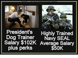 Navy Seal Meme - president s highly trained dog trainer navy seal salary 102k
