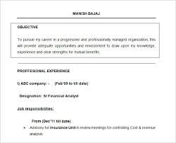 Financial Analyst Job Description Resume by Resume Objectives U2013 46 Free Sample Example Format Download