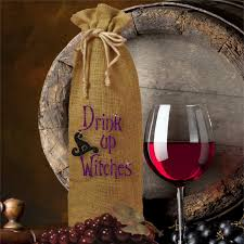 wine bottle gift bag drink up witches halloween burlap bottle bag