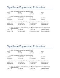 Calculations Significant Figures Worksheet Answers Significant Figures And Estimation Simple By Tristanjones